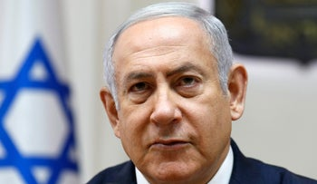 Prime Minister Benjamin Netanyahu at a weekly cabinet meeting in his Jerusalem office.