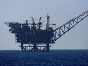 An Israeli gas platform is seen in the Mediterranean Sea.