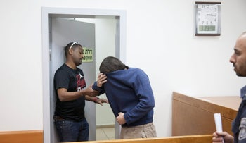 The hacker at the Rishon Letzion Magistrate's Court, June 15, 2017