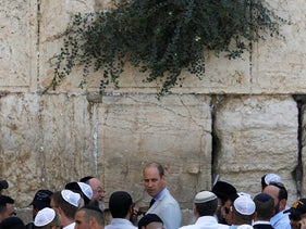 Britain's Prince William stands next to the Western Wall, Judaism's holiest prayer site, in Jerusalem's Old City, June 28, 2018