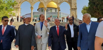 Britain's Prince William tours the compound known to Muslims as Noble Sanctuary and to Jews as Temple Mount, located in Jerusalem's Old City, June 28, 2018