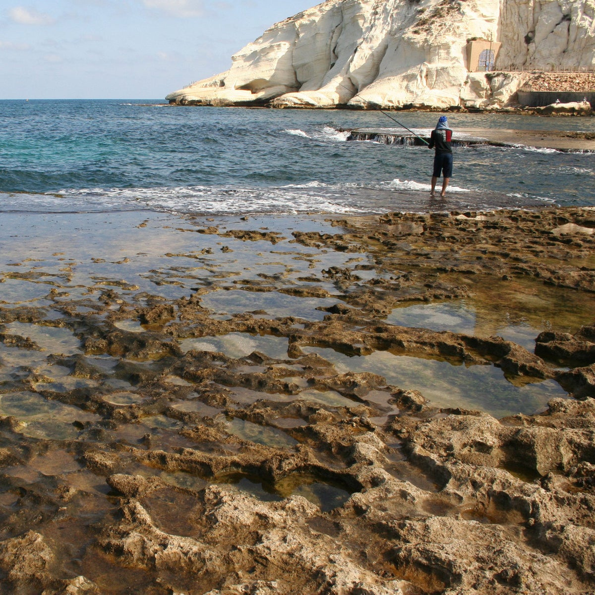 Israel has gorgeous coastal areas...such as this one at Rosh Hanikra, but in summer, one has issues of crowding swimmers into tiny areas, and our friend the jellyfish