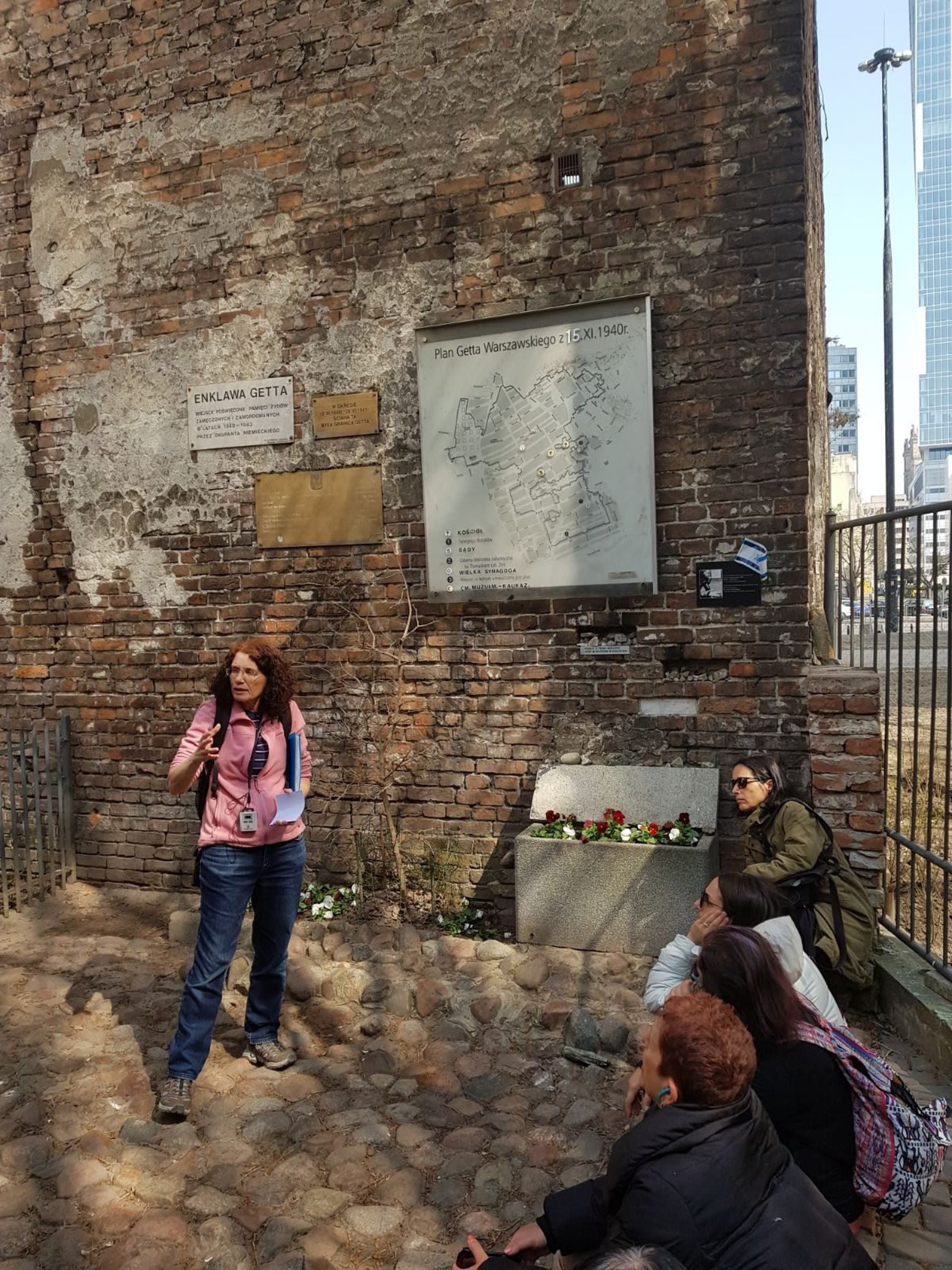 Members of Our Sisters We Do Seek visiting the remains of the Warsaw ghetto, April 2018.