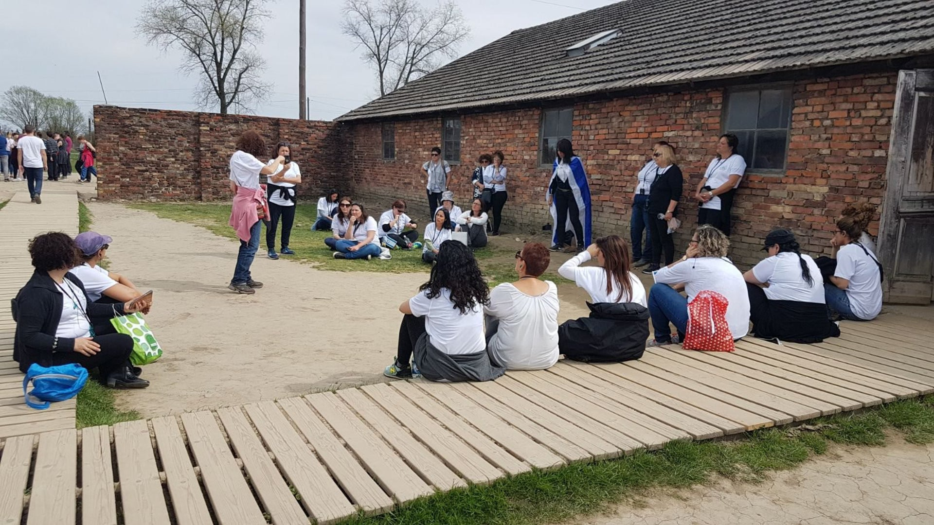Members of the Our Sisters We Do Seek group visiting Auschwitz-Birkenau concentration camp, April 2018.