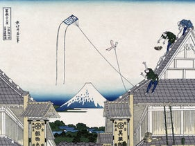 """""""Mitsui Shop at Surugacho in Edo,"""" by Katsushika Hokusai (1831). In the East, the kite was viewed as a means of direct communication with the gods."""