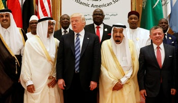 Jordan's King Abdullah II, Saudi Arabia's King Salman bin Abdulaziz Al Saud, U.S. President Donald Trump, Abu Dhabi Crown Prince Sheikh Mohammed bin Zayed al-Nahyan and Qatar's Emir Sheikh Tamim Bin Hamad Al-Thani pose for a photo during Arab-Islamic-American Summit in Riyadh, Saudi Arabia May 21, 2017