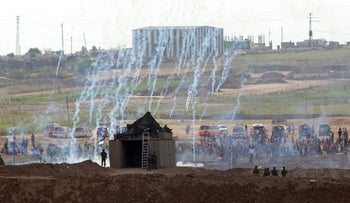 Clashes between Palestinians and the Israeli army at the Gaza border, Friday, June 29, 2018