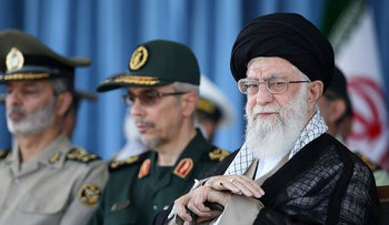 Supreme Leader Ayatollah Ali Khamenei attends a ceremony in a military academy, in Tehran, Iran, June 30, 2018.
