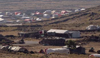 Syrian refugee tent encampment along the Israel-Syria border in the Golan Heights, June 29, 2018