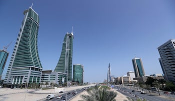 Bahrain Financial Harbor, left, and Bahrain World Trade Center in the diplomatic area of Manama, Bahrain, February 28, 2018.