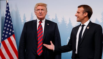 President Donald Trump meets with French President Emmanuel Macron during the G-7 summit, Friday, June 8, 2018, in Charlevoix, Canada