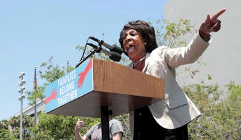 """Congresswoman Maxine Waters during a national day of action called """"Keep Families Together"""" to protest the Trump administration's """"Zero Tolerance"""" policy in Los Angeles, California, U.S. June 30, 2018"""