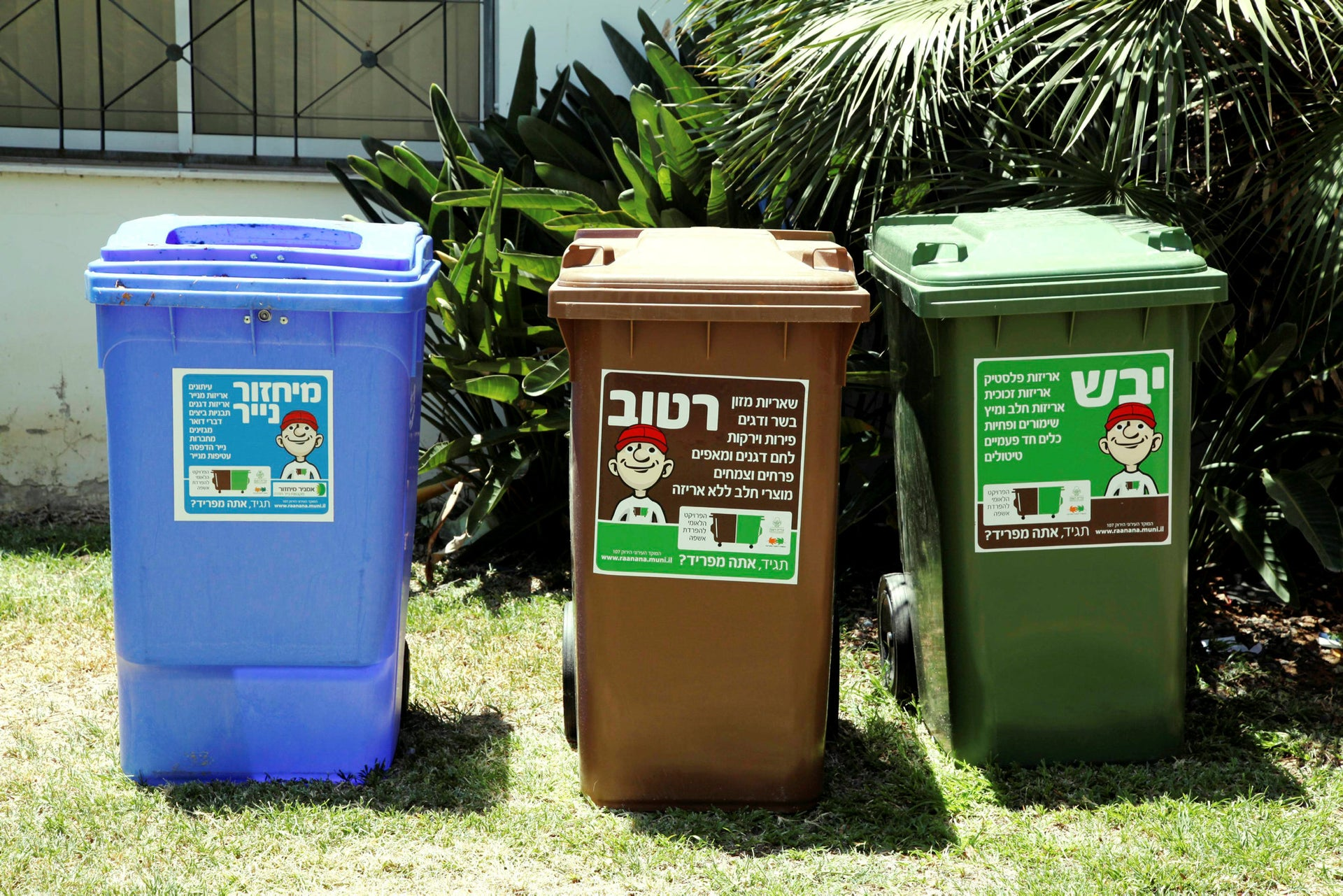 Recycling bins in Ra'anana: The blue bin is for paper, the brown bin for wet waste and the green one for dry waste such as wood, metals and glass.