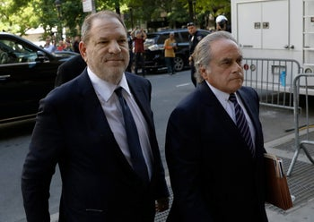 Harvey Weinstein, left, arrives at State Supreme Court with attorney Benjamin Brafman in New York, U.S., on Tuesday, June 5, 2018.