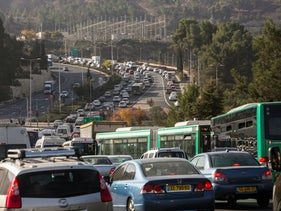 A traffic jam in Jerusalem, 2017.