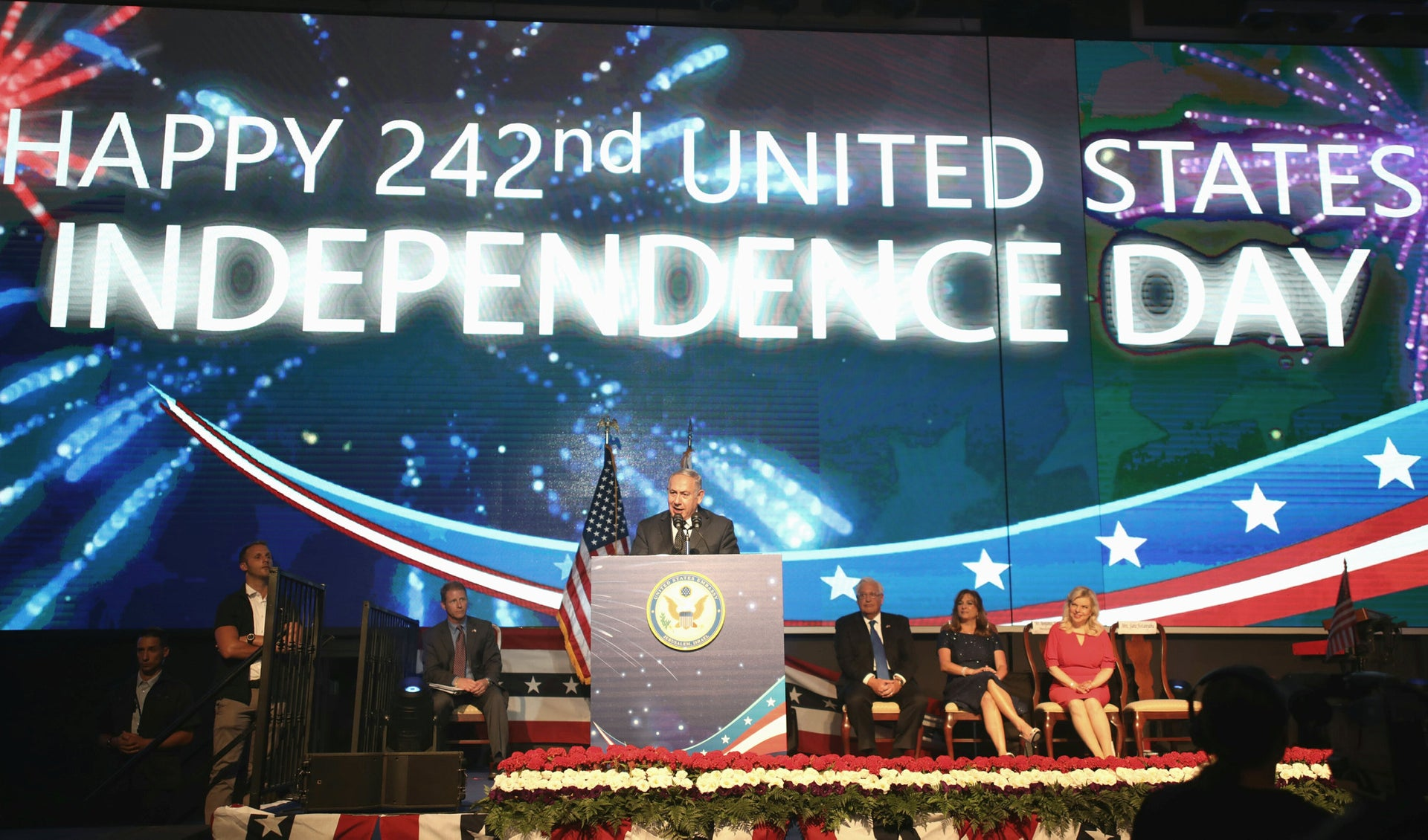 Prime Minister Benjamin Netanyahu at an event in honor of the 242nd Independence Day of the United States, July 2018
