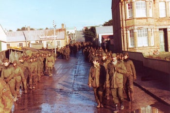 Repatriation of Argentine army POWs at the end of the Falklands War, 1982