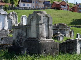 The bullet-pocked tombstone of Zeki Effendi at the old Jewish cemetery in Sarajevo, Bosnia.