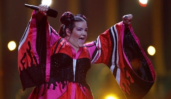 """Israel's Netta Barzilai performs """"Toy"""" in Lisbon, Portugal, May 12, 2018"""
