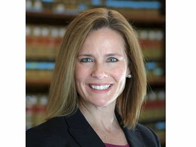 This 2017 photo provided by the University of Notre Dame Law School in South Bend, Ind., shows Judge Amy Coney Barrett. Barrett is on President Donald Trump's list of potential Supreme Court Justice candidates to fill the spot vacated by retiring Justice Anthony Kennedy