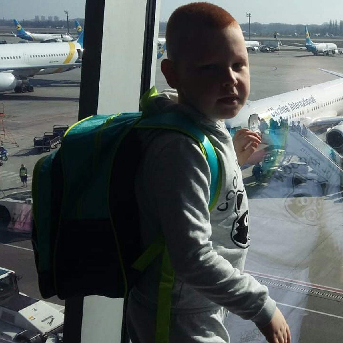 Nikita Weisgeim, 6. After a 14-hour nightmare in Israel, he and his family were put on a plane back to Kiev.