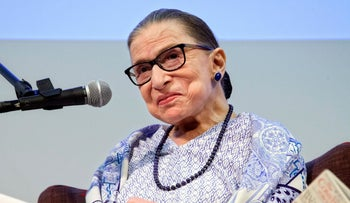U.S. Supreme Court Justice Ruth Bader Ginsburg speaks after the screening of 'RBG,' the documentary about her in Jerusalem, July 5, 2018.