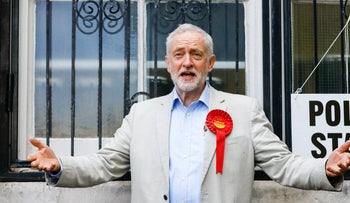 Jeremy Corbyn, leader of the U.K's opposition Labour Party, seen leaving the polling station after casting his vote in the local elections in London in May.
