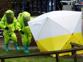 Forensic tent, covering the bench where Sergei Skripal and his daughter Yulia were found in Salisbury, Britain, in March 2018.