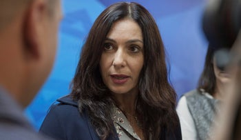 In this Sunday, June 21, 2015 file photo, Israeli Minister of Culture and Sport Miri Regev speaks during the weekly cabinet meeting in Jerusalem.