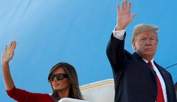 U.S. President Donald Trump and first lady Melania Trump board Air Force One as they depart Joint Base Andrews in Maryland, U.S. July, 10, 2018