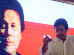 Imran Khan, Pakistani cricketer-turned-politician, presents his Pakistan Tehreek-i-Insaf party's manifesto for the July 25th 2018 general elections. Islamabad, July 9, 2018