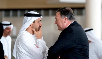 Mike Pompeo and United Arab Emirates Foreign Minister Sheikh Abdullah bin Zayed Al Nahyan in the United Arab Emirates, July 10, 2018.