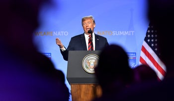 U.S. President Donald Trump speaks during a press conference after a summit of heads of state and government at NATO headquarters in Brussels, Belgium, Thursday, July 12, 2018. NATO leaders gather in Brussels for a two-day summit.
