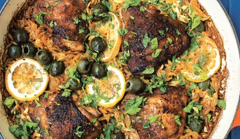 One Pot Paprika Chicken with Orzo and Olives