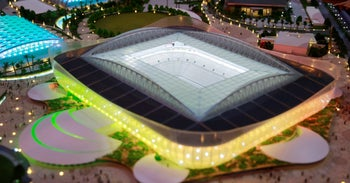A scale model of the Al-Rayyan Stadium is seen during a news conference to announce the start of work on the Al Rayyan Stadium in Al Rayyan April 22, 2015.