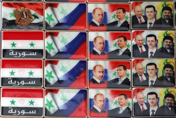 Pictures of Nasrallah, Assad and Putin in a souvenir shop in Damascus, in April