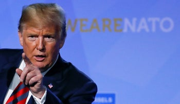 U.S. President Donald Trump holds a news conference after participating in the NATO Summit in Brussels, Belgium July 12, 2018.