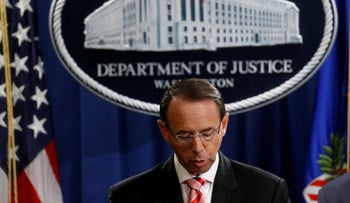 Deputy U.S. Attorney General Rod Rosenstein announces grand jury indictments of 12 Russian intelligence officers in special counsel Robert Mueller's Russia investigation, during a news conference at the Justice Department in Washington, U.S., July 13, 2018.