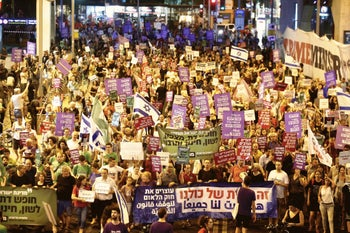 Protesters in Tel Aviv demonstrating against the nation-state bill, July 14, 2018.