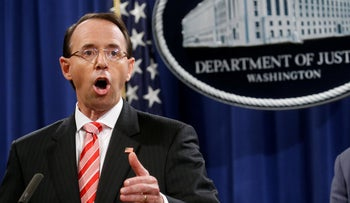 Deputy U.S. Attorney General Rod Rosenstein announcing grand jury indictment of 12 Russian intelligence officers.