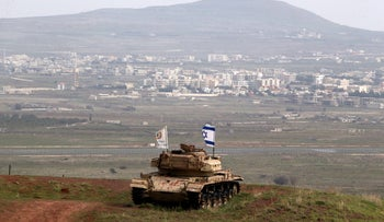 An old military vehicle positioned on the Israeli side of the border with Syria in the Golan Heights, February 11, 2018.