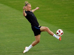 Croatia's Domagoj Vida kicks the ball during a training session of Croatian national team at the 2018 soccer World Cup in Moscow, Russia, Friday, July 13, 2018