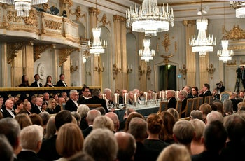 A general view of the Swedish Academy's annual meeting at the Old Stock Exchange building in Stockholm.