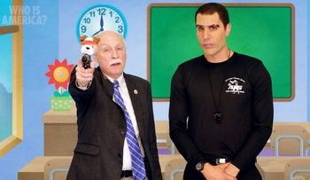 Gun rights activist Philip Van Cleave with Col. Erran Morad (Sacha Baron Cohen) in his new show 'Who is America'