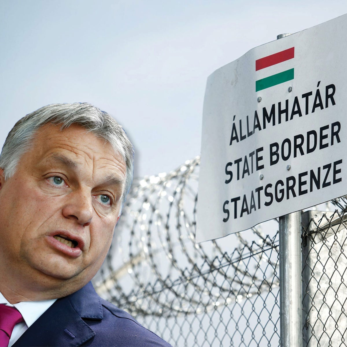 ILLUSTRATION: Hungarian Prime Minister Viktor Orban / Razor wired topped security fence on the Hungarian-Serbian border near Roszke, Hungary.