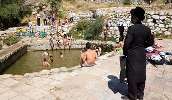 People gathered at Lifta Spring in Jerusalem to protest attempts to keep women away, June 2018.