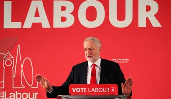Jeremy Corbyn, the leader of Britain's Labour Party, speaks at the launch of their local election campaign, in London, April 9, 2018.