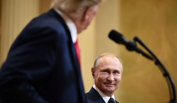 US President Donald Trump and Russia's President Vladimir Putin at a joint press conference at the Presidential Palace in Helsinki, on July 16, 2018.