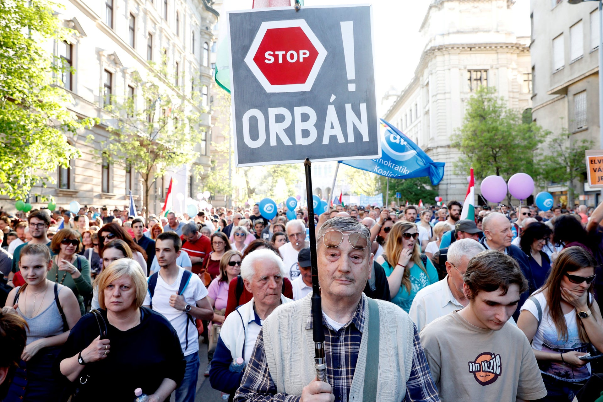 Protesters attending a demonstrating against the government of Prime Minister Viktor Orbán in Budapest, Hungary, April 21, 2018.