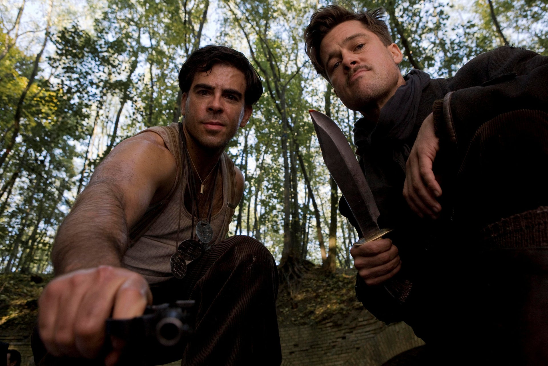 """Actors Eli Roth, left, and Brad Pitt perform in a scene from the movie """"Inglourious Basterds."""""""